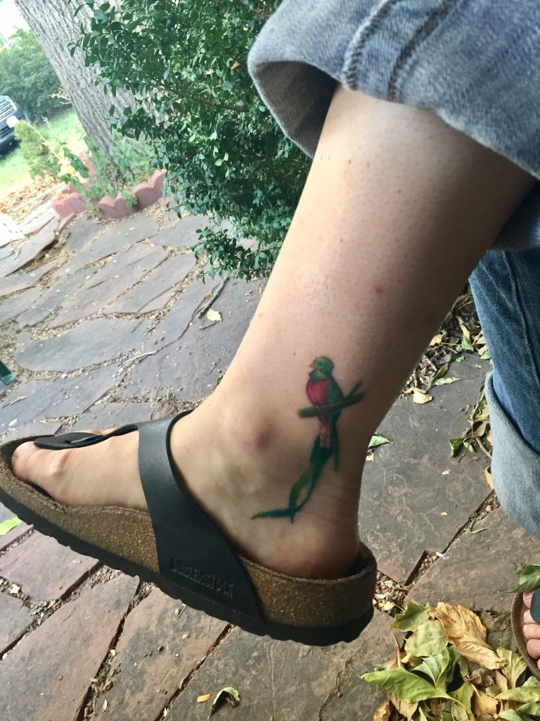 The quetzal is a permanent reminder of the fear I lived through and the faith that grew as a result.