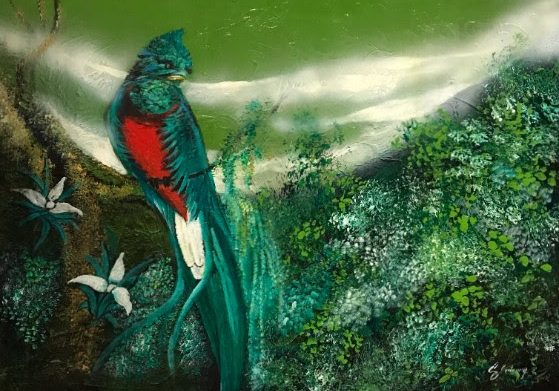 Painting of a quetzal found in The Artist Halls museum of Hotel Casa Santo Domingo. Artist unknown.